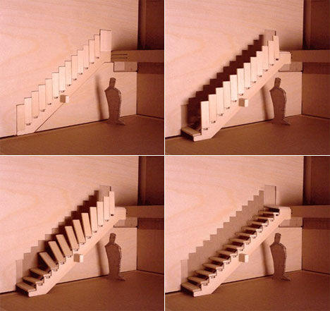 Stairs that vanish into a wall help enhance flow from one room to the next
