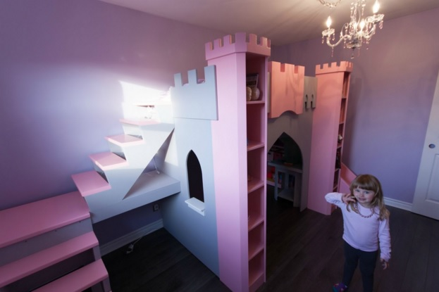 Another view of the princess castle bed - look at that girl's smile!